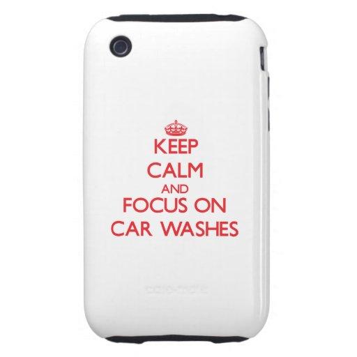 Mantenha a calma e o foco em lavagens de carros capa dura iPhone 3