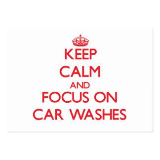 Mantenha a calma e o foco em lavagens de carros cartão de visita grande