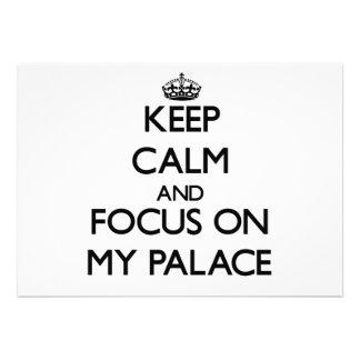 Mantenha a calma e o foco em meu palácio convites personalizados