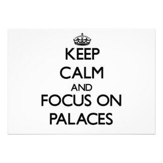 Mantenha a calma e o foco em palácios convites personalizados