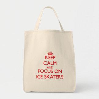 Mantenha a calma e o foco em patinadores de gelo bolsa para compras