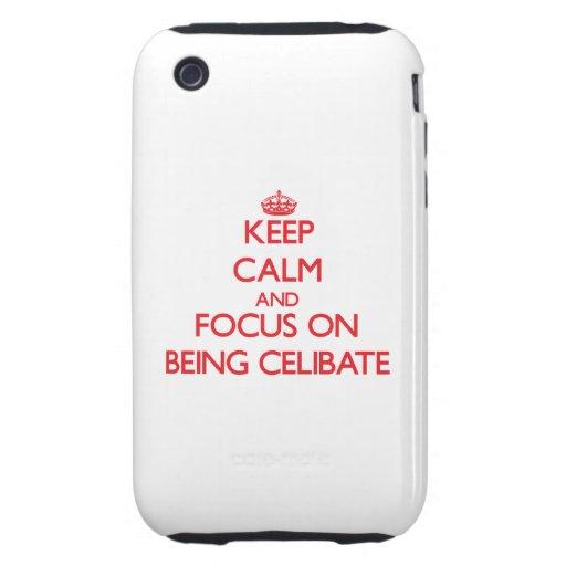 Mantenha a calma e o foco em ser celibato capas fortes de iPhone 3