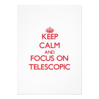 Mantenha a calma e o foco em telescópico convites personalizados