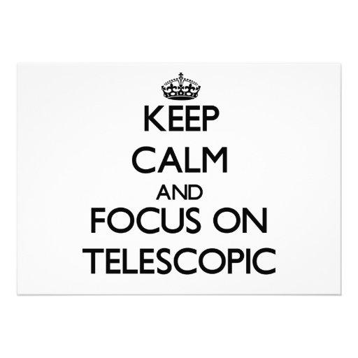 Mantenha a calma e o foco em telescópico convite personalizados