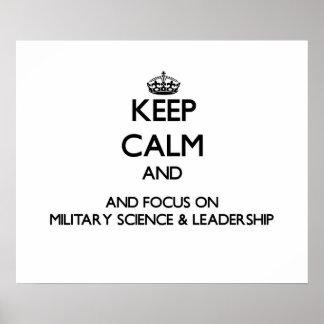 Mantenha a calma e o foco na ciência militar no posteres