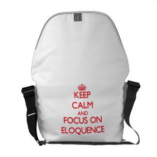 Mantenha a calma e o foco na ELOQUÊNCIA Bolsa Mensageiro