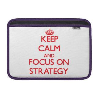 Mantenha a calma e o foco na estratégia bolsas de MacBook