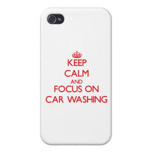 Mantenha a calma e o foco na lavagem do carro capa iPhone 4