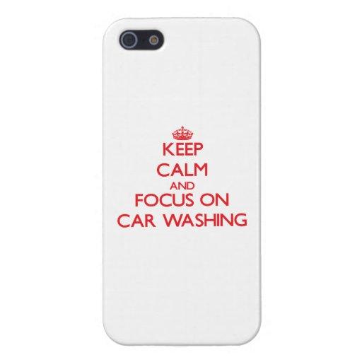 Mantenha a calma e o foco na lavagem do carro capa iPhone 5
