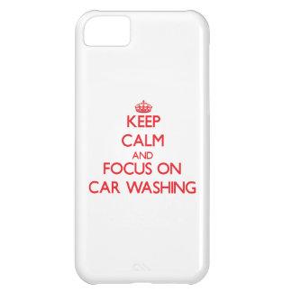 Mantenha a calma e o foco na lavagem do carro capas para iphone 5C