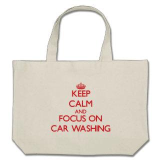 Mantenha a calma e o foco na lavagem do carro bolsas para compras