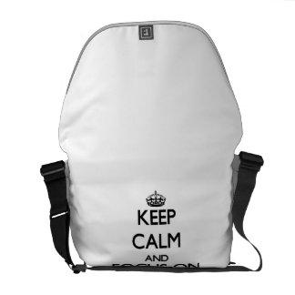 Mantenha a calma e o foco na leitura de bordo bolsas mensageiro