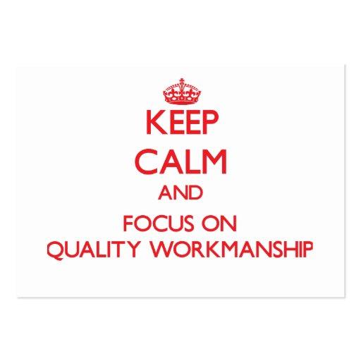 Mantenha a calma e o foco na obra da qualidade modelos cartao de visita