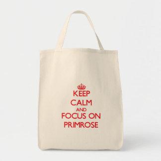 Mantenha a calma e o foco na prímula bolsas para compras