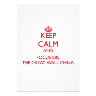 Mantenha a calma e o foco no Grande Muralha China Convite Personalizado