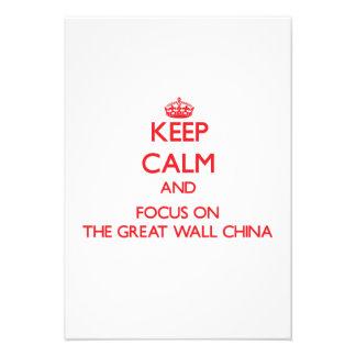Mantenha a calma e o foco no Grande Muralha China Convites
