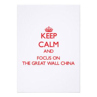 Mantenha a calma e o foco no Grande Muralha China Convites Personalizados