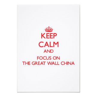 Mantenha a calma e o foco no Grande Muralha China Convite 12.7 X 17.78cm