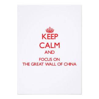 Mantenha a calma e o foco no Grande Muralha de Convites