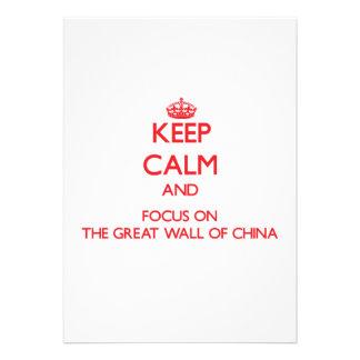 Mantenha a calma e o foco no Grande Muralha de Convites Personalizados
