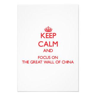 Mantenha a calma e o foco no Grande Muralha de Convite