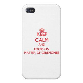 Mantenha a calma e o foco no mestre de cerimónias capa iPhone 4