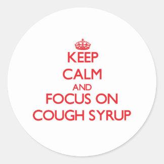 Mantenha a calma e o foco no xarope da tosse adesivo redondo