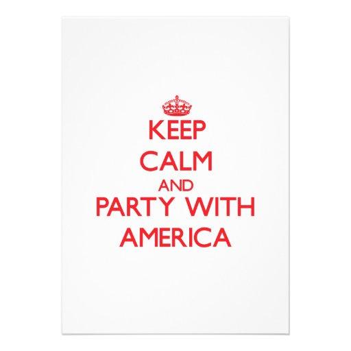 Mantenha a calma e o partido com América Convites