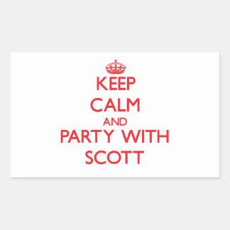 Mantenha a calma e o partido com Scott Adesivos Retangular