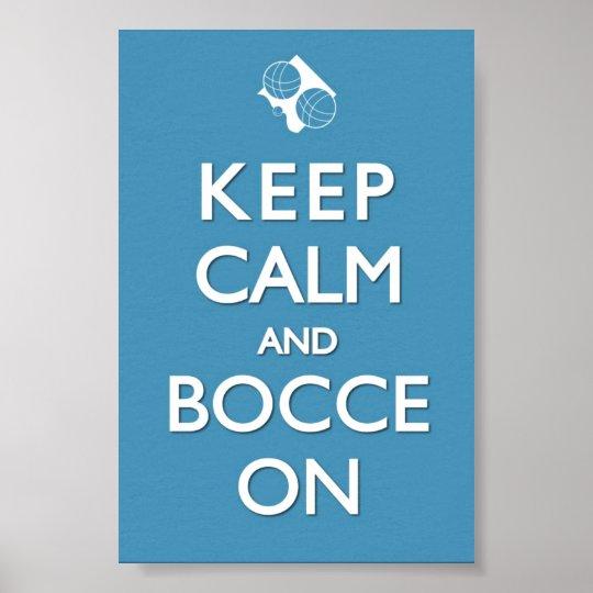 Mantenha a calma e o sólido azul 4 x de Bocce o Pôster