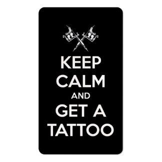 Mantenha a calma e obtenha um tatuagem cartão de visita