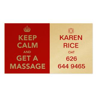 mantenha a calma e obtenha uma massagem II Cartão De Visita