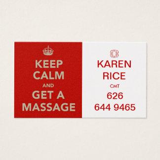 mantenha a calma e obtenha uma massagem II Cartão De Visitas