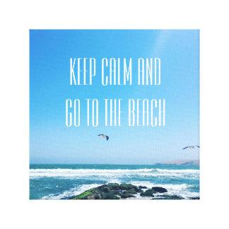 Mantenha a calma e vá às canvas do beeach