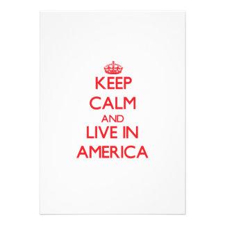 Mantenha a calma e viva em América Convite Personalizado