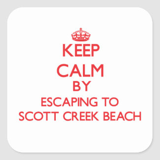 Mantenha a calma escapando à praia Califor da angr Adesivos Quadrados