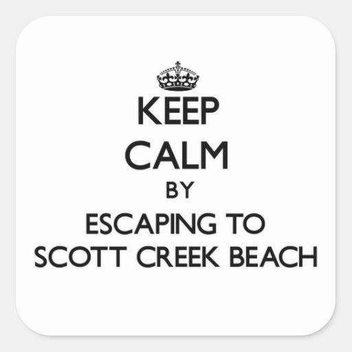Mantenha a calma escapando à praia Califor da Adesivo Quadrado