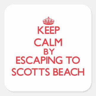 Mantenha a calma escapando à praia New York de Sco Adesivo Em Forma Quadrada