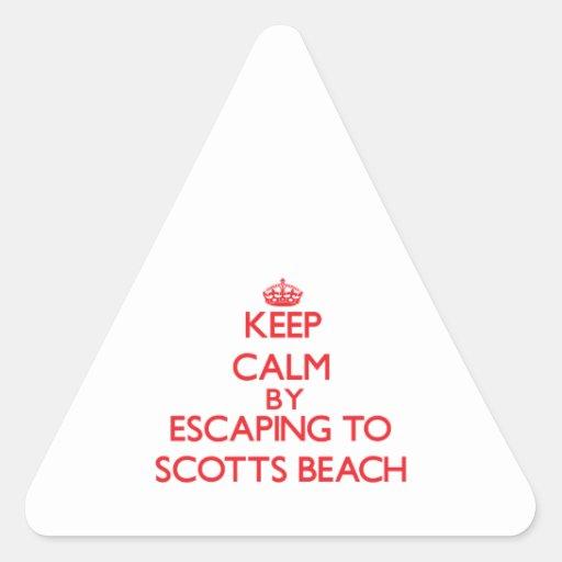Mantenha a calma escapando à praia New York de Sco Adesivos Triângulo