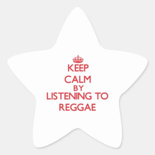 Mantenha a calma escutando a REGGAE Adesivo Estrela