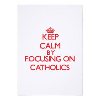 Mantenha a calma focalizando em católicos convite personalizado
