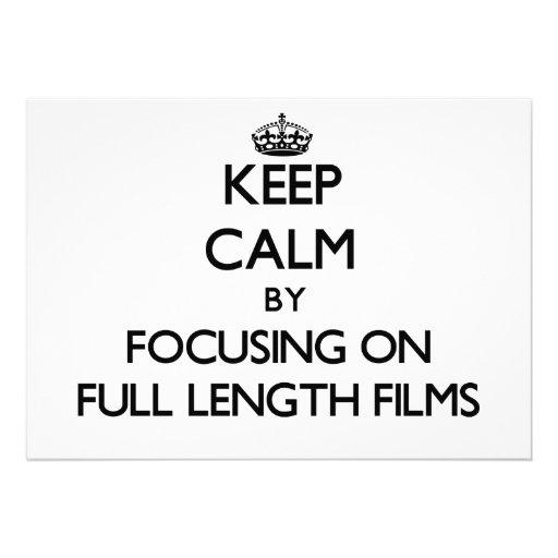 Mantenha a calma focalizando em filmes completos d convite personalizado