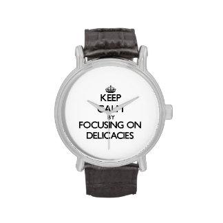 Mantenha a calma focalizando em guloseimas relógio