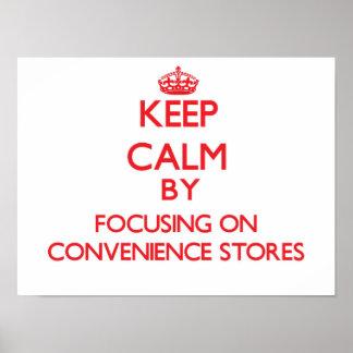 Mantenha a calma focalizando em lojas impressão