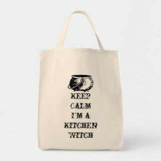 Mantenha a calma, mim são uma bruxa da cozinha sacola tote de mercado