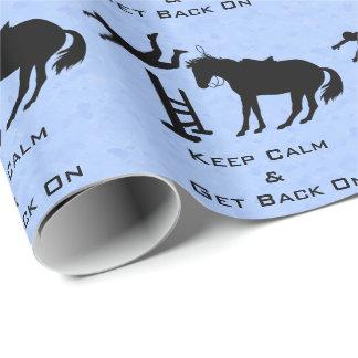 Mantenha a calma & monte-a para trás o cavalo de papel de presente