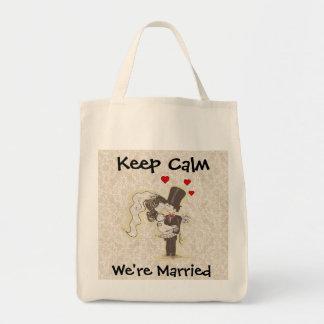 Mantenha a calma que nós somos saco Wedding casado Sacola Tote De Mercado