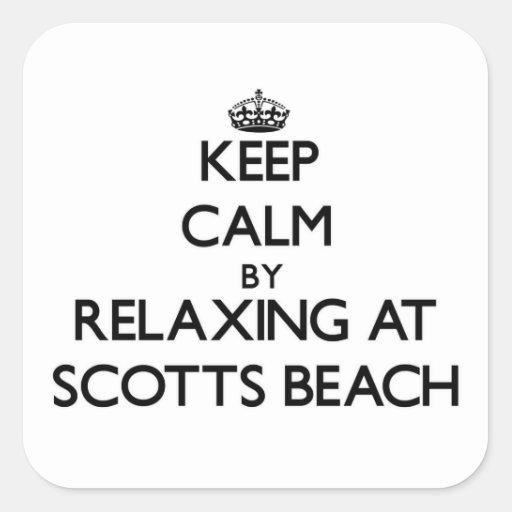 Mantenha a calma relaxando na praia New York de Adesivos Quadrados