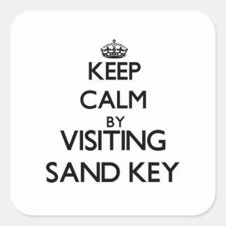 Mantenha a calma visitando a areia Florida chave Adesivos Quadrados