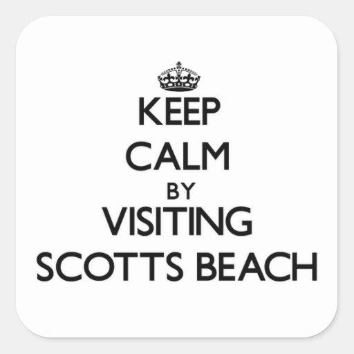Mantenha a calma visitando a praia New York de Adesivo Quadrado